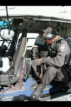 Koda likes to fly in helicopters. Homeland Security K9
