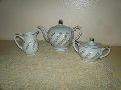 Vintage Porcelain Teapot Sugar & Creamer Set by DollysDooDads:))