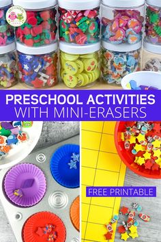 Do you want to know what to do with mini erasers?  Get free mini-eraser sorting mats Preschool Activities At Home, Motor Skills Activities, Sorting Activities, Alphabet Activities, Preschool Classroom, Toddler Activities, Classroom Behavior, Color Activities, Early Learning