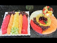 FRUIT PLATTERS - A How To Knowing how to make a beautiful fruit arrangement is a great addition to your hostess repertoire. Today, my talented baby sister, H. Edible Fruit Arrangements, Fruit Centerpieces, Fruit Decorations, Fruit Basket Watermelon, Watermelon Fruit, Dessert Ramadan, Fruit And Vegetable Carving, Food Carving, Fruit Slice
