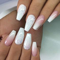 REPOST - - - - White with Glitter Ombre and French Fade on Sa .- REPOST – – – – White with glitter ombre and French fade on coffin nails – – – – … - Prom Nails, Wedding Nails, Bridal Nails, Stylish Nails, Trendy Nails, Nagel Gel, Best Acrylic Nails, Acrylic Nail Designs Glitter, Acrylic Nails Coffin Glitter