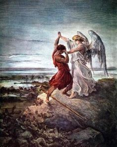 Jacob wrestling with the Angel - Paul Gustave Dore 1855 (Bible illustrated)