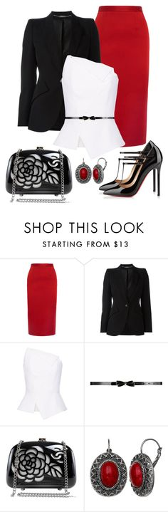 """""""Untitled #1254"""" by gallant81 ❤ liked on Polyvore featuring Roland Mouret, Alexander McQueen, Christian Louboutin, Chanel and Mixit"""