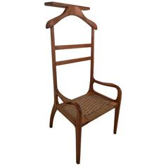 View this item and discover similar for sale at - Mid-century modern valet chair with from the made of solid walnut with woven rope seat in the manner of Hans Wenger. Lovely sculpted arms and back Vintage Modern, Mid-century Modern, Sculpted Arms, Modern Gentleman, Modern Chairs, Venice, Mid Century, Antiques, Room