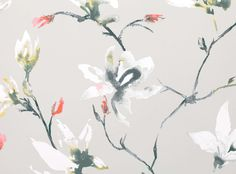 Delicate brushstrokes depict a striking, trailing magnolia in a fusion of gentle pastels and versatile neutrals. Non-Woven Wallcovering Designer Fabrics & Wallcoverings, Upholstery Fabrics