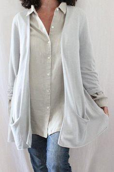 J. Jill 100% Linen L Sleeve Long Open Fluid Cardigan Gray Sz 1X #JJill #Cardigan