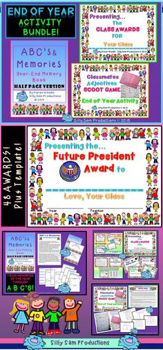 $ End of the Year AWARDS, MEMORY BOOK and POSTER ACTIVITY SCOOT GAME too! Wrap up your year with these wonderful memories and KEEPSAKES! ABCs and MEMORIES is a beautiful Memory Book and Keepsake for your students. They can each create their own book of memories using the alphabet to help them brainstorm and remember all of those hilarious, exciting and very special moments throughout the year.
