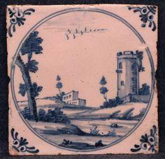 Carreau en faïence de Delft à décor d'un paysage