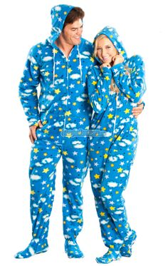 798041b21ff8 Blue Twinkle Hooded Adult Pajamas. These one piece pjs feature a hoodie