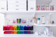 I was so excited for back-to-school (or more accurately, mom-summer) to begin, that I spent the last month working with The Container Store to turn our playroom into a study. Office Supply Organization, Organization Ideas, Organization Station, Stationary Organization, Bedroom Organization, The Home Edit, Homework Station, Container Store, Space Crafts