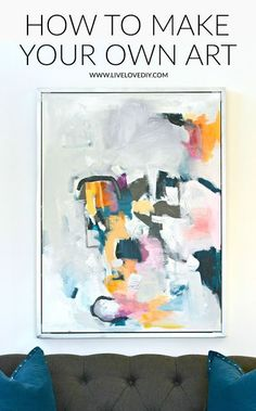 How to make your own easy wall art! Love this DIY idea! How to make your own easy wall art! Love this DIY idea! Cheap Wall Art, Simple Wall Art, Contemporary Abstract Art, Abstract Wall Art, How To Abstract Paint, Painting Abstract, Diy Artwork, Ideias Diy, Diy Painting