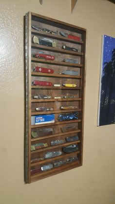 Pocket knife display case cabinet shadow box glass door walnut i built a cool display case for my knife collection out of scraps planetlyrics Images