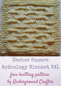 """Free knitting pattern: Dashes Square in Cascade 220 Superwash yarn by Underground Crafter   The Dashes Square features alternating horizontal purl dashes across a stockinette background. It's one of 30 free knitting patterns for 6"""" (15 cm) squares in the Anthology Blanket Knit-a-Long."""