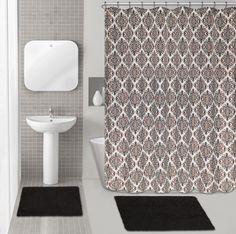 Diamond Medallion 15 Piece Chenille Shower Curtain Set