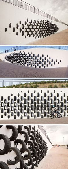 Spanish Artists Use Old Tires To Create Wall Art | via contemporist.com / art / recycle / green design / leed
