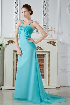Blue Chiffon V-Neck Homecoming Gown - Order Link: http://www.theweddingdresses.com/blue-chiffon-v-neck-homecoming-gown-twdn1963.html - Embellishments: Beading , Ruched; Length: Sweep/Brush Train; Fabric: Chiffon; Waist: Empire - Price: 144.41USD