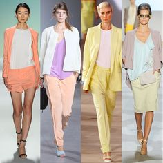 head-to-toe pastels. love add a cardigan to summer staples like this midi skirt fall. Fashion Models, Fashion Beauty, Fashion Show, Fashion Trends, Mode Style, Style Me, Komplette Outfits, Spring Trends, Spring 2014