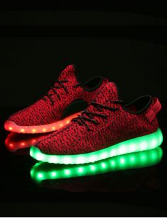 UK Shoes Store KNIT MENS UNISEX LACE UP SNEAKERS LUMINOUS LIGHT UP USB CHARGER LED SPORTS SHOES Bl
