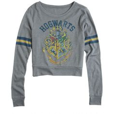 Harry Potter Hogwarts Long-Sleeve Tee (£21) ❤ liked on Polyvore featuring tops, t-shirts, harry potter, 10. tops., shirts, hogwarts, long sleeve shirts, shirt top, long sleeve tees and long sleeve t shirts