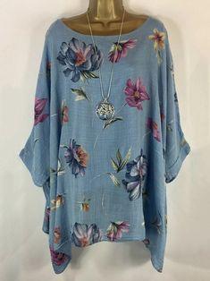 Floral Casual Round Neckline Sleeves Blouses - Blue / S Plus Size Shirts, Plus Size Blouses, Short Sleeve Blouse, Shirt Sleeves, Boho Dress Plus Size, Floral Shorts, Casual Tops, Comfy Casual, Types Of Sleeves