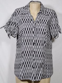 EAST 5TH WOMAN Black/White Patterned Stretch Cotton Shirt 1X Short Sleeves #East5th #Blouse #Casual