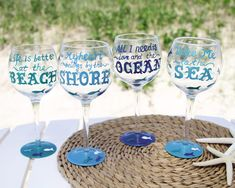 Ocean Quotes Wine Glasses |