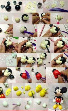 Как сделать Микки Мауса из мастики?