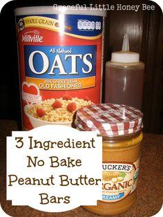 3 ingredient no bake peanut butter bar recipe