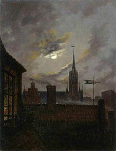 """Carl Gustav Carus [German Romantic Painter, 1789-1869] - """"Deutscher Mondschein"""""""