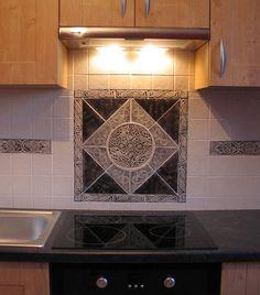 Celtic+Tiles+for+Backsplashes | 22x22 Celtic set and Celtic eagle border tile done in black UG and ...