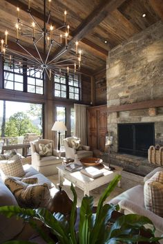 Secluded Mountain Getaway - rustic - Living Room - Other Metro - Appalachian Antique Hardwoods Cottage Living Rooms, Home Living Room, Living Room Designs, Living Room Decor, Rustic Living Rooms, Decor Room, Nursery Decor, Dining Room, Mountain Home Interiors