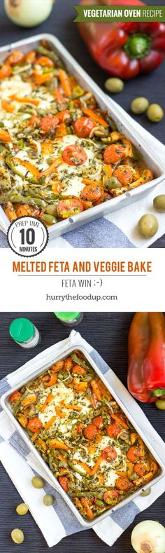 Melted Feta And Veggie Bake. Ready in 30 minutes | #dinner #vegetarian | http://hurrythefoodup.com