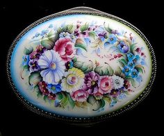 Floral Oval Box Russian Enamel by RussianRostovJewell on Etsy, $150.00