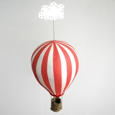 Hot Air Balloon Kit - Red Stripe  DIY a hot air balloon with floaty cloud, kit contains sewing pattern, fabric, felt, perle and trims. Just add stuffing.