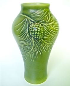 "ROOKWOOD POTTERY NEW . Two Tone Mat Green Pinecone 9 5/8"" Vase. 