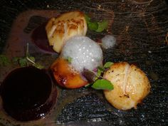 Hand-dived Scottish scallops and eel mousse foam. Thank you to guest Danni Tucker for this picture. Scallops, Mousse, Gallery, Breakfast, Pictures, Food, Morning Coffee, Photos, Seared Scallops