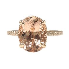 $599 Oval Morganite Engagement Ring Pave Diamond Wedding 14K Rose Gold 8x10mm,Claw Prongs LOGR-Morganite Rings http://www.amazon.com/dp/B01A0P1EEU/