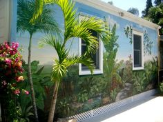 Exterior Wall Murals | Exterior Wall (After) Tropical Mural | Bella Arte Studio