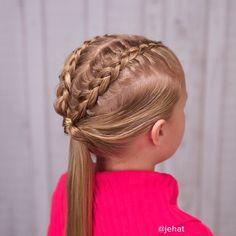 Dutch braids to flipped ponytail by Jehat Hair.  Cute sports style. #surprisingtamaratwin!  #twinshair #hairinspiration #hairstylesforgirls #braidsforgirls #braidphotos