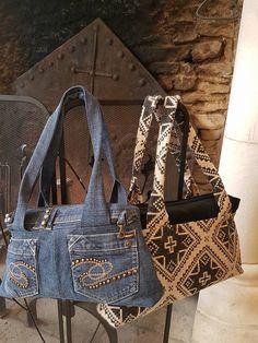2 sacs City Zip-Zip cousus par Nanou - Jean recyclé pour l'un, lainage et velours pour l'autre - Patron sac compartimenté Sacôtin