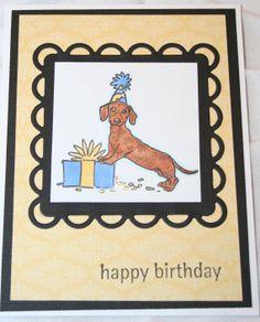 #Dachshund #Dog  Handmade Happy Birthday Card Greeting by ArtfulPaws, $3.00