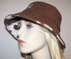 Womens Brown Fleece Hat Wide Brim Lined with by ChickaTweeBagsEtc, $20.00