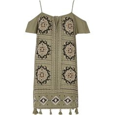 River Island Khaki green embroidered cold shoulder dress (£35) ❤ liked on Polyvore featuring dresses, open shoulder dress, brown dress, tassel dress, short-sleeve dresses and green day dress