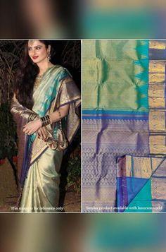 Green And Blue Handloom Kan... Kanjivaram Sarees Silk, Pure Georgette Sarees, Bandhani Saree, Silk Cotton Sarees, Pure Silk Sarees, Celebrity Look, Look Alike, Mulberry Silk, Festival Wear