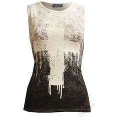 (Womens Black/White Splash Cross Vest) Femmes Noir/Blanc Eclaboussure... ($12) ❤ liked on Polyvore featuring tops and shirts