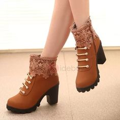Cheap shoes fashion women, Buy Quality shoes woman directly from China shoes woman fashion Suppliers: Cuculus 2017 Women Boots Fashion PU Leather Round Toe Ankle Boots Sexy Lace Ladies High Heels Platform Shoes Woman 331 Platform Ankle Boots, High Heel Boots, Heeled Boots, Shoe Boots, Women's Shoes, Ankle Shoes, Platform Pumps, Shoes Style, Shoes Sneakers