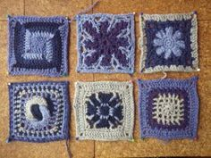 A week of wool   The Snail of Happiness. Some of the squares for the 'granny square cushion'