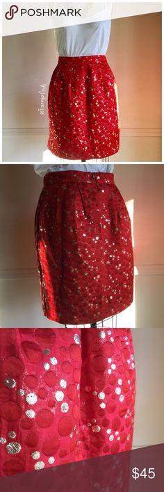 • Lauren Moffatt Tangerine Polka Dot Skirt • EUC • Beautiful Glittery Skirt • Tangerine & Gold Polka Dots • Two Hidden Pockets • Fully Lined • Exposed Gold Zipper • Waist 28 • Length 19 • Its more like a red orange Anthropologie Skirts Mini