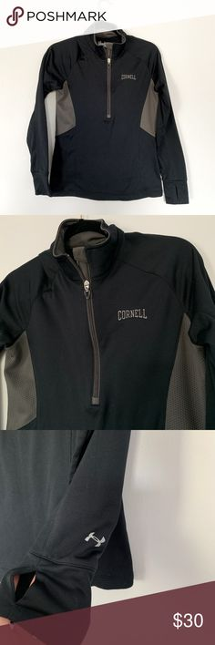 Cornell University Under Armour 3/4 Zip Pullover Black and gray Under Armour 3.4 zip up athletic jacket. Gray embroidered Cornell logo. Semi-fitted fit with cold gear technology. Thumb holes.  Size medium. Excellent preowned condition - no signs of wear. Under Armour Tops Sweatshirts & Hoodies
