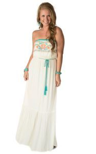 Flying Tomato Women's Ivory with Turquoise and Coral Embroidery Strapless Maxi Dress   Cavender's